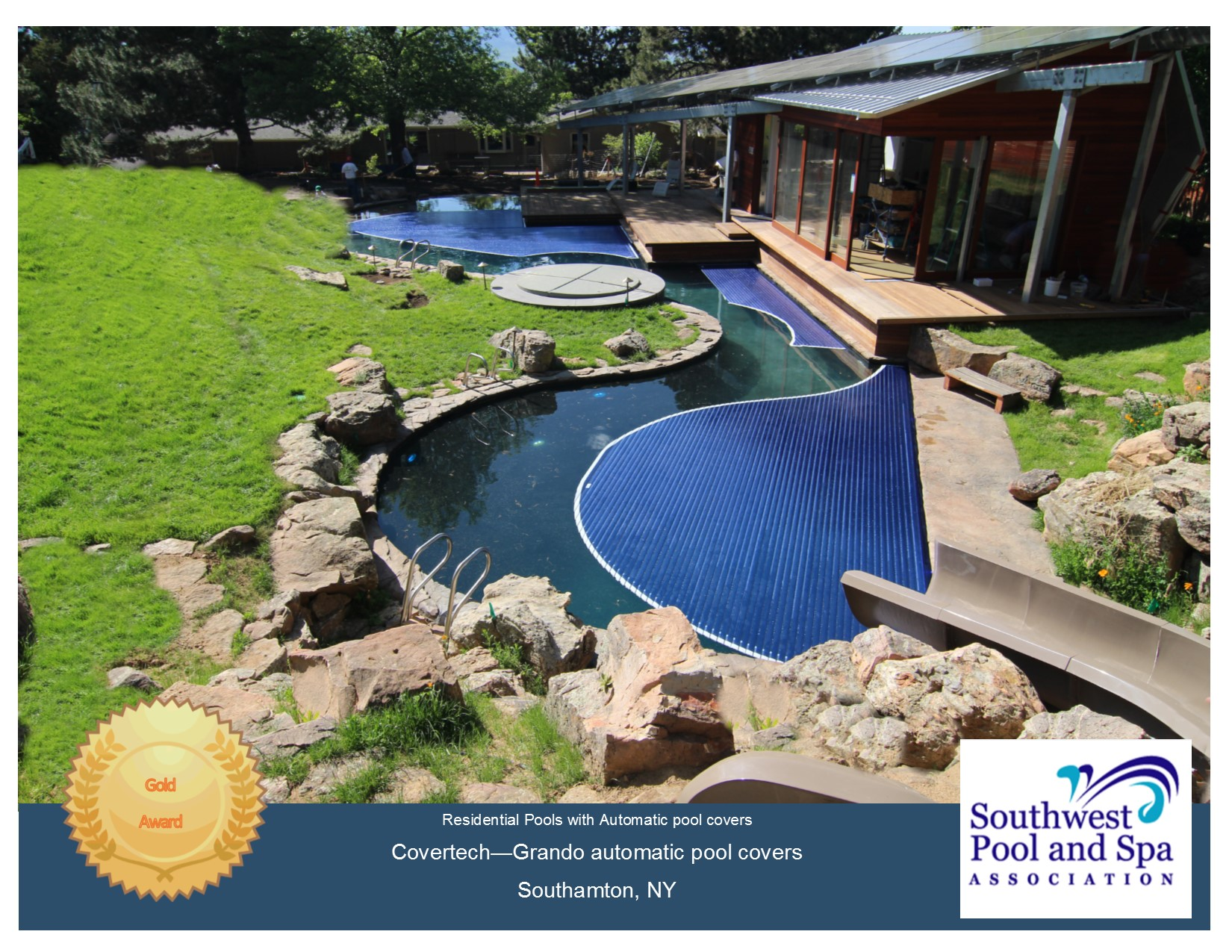 Covertech - Grando automatic rigid free form pool cover GOLD1 Award South West Pool & SPA 2016