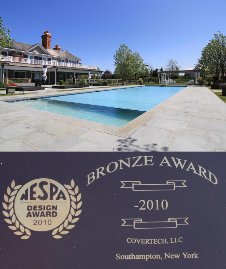 Covertech Bronze NESPA Long Island Res Pools with autoamtic pool cover